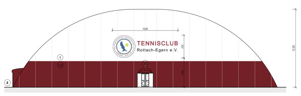 Tennishalle Frontansicht